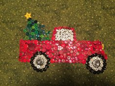 almost complete! Christmas Button Crafts, Christmas Buttons, Christmas Art, Holiday Crafts, Fun Crafts, Diy And Crafts, Christmas Decorations, Christmas Ornaments, Red Truck Decor