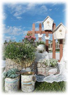 Vintage romantic baptism decoration , bird , birdhouse , pearls, floral , flower arrangement , lace , tin , fresh levander  , white hydrangea