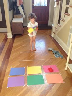 Bean bag toss….tape colored construction paper to the floor as well as challenge lines where the child is to stand and have them toss the bean bags onto the corresponding colors