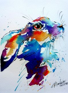 Natalie Graham - Colourful hare painting in watercolour - Artists & Illustrators - Original art for sale direct from the artist Colorful Animal Paintings, Watercolor Paintings Of Animals, Abstract Animals, Colorful Animals, Watercolor Artists, Watercolor Portraits, Abstract Paintings, Girl Watercolor, Watercolor Video