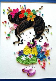 Paper Quilled 'Evelynn' cute little girl Doll Nursery decor, kids room artwork, Wall art,birthday, Christmas gift ideas Neli Quilling, Quilling Dolls, Quilling Work, Quilling Paper Craft, Paper Crafts, Paper Quilling Tutorial, Paper Quilling Patterns, Quilled Paper Art, Filigrana Neli