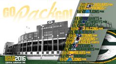 Schedule wallpaper for the Green Bay Packers Regular Season, 2016. All times CET. Made by #tgersdiy Go Pack Go!