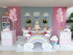 Unicorn Themed Birthday, Baby Boy 1st Birthday, 4th Birthday Parties, Birthday Party Decorations, Rain Baby Showers, Cloud Party, Rainbow Theme, First Birthdays, Minecraft
