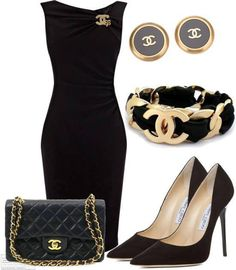 This is such a lovely Chanel ensemble. A little black dress, black pumps and gold accented accessories.