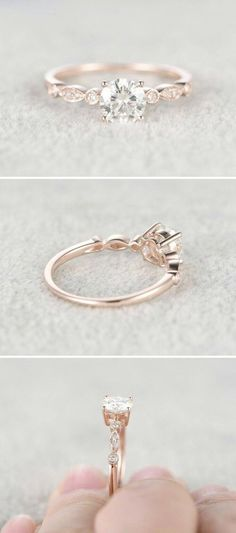 Moissanite in Rose Gold Engagement Ring - Gardening Aisle wedding rings pictures simple vintage sets wedding rings sets kay jewelers wedding rings wedding rings for men zales wedding rings cheap wedding rings womens wedding ring sets unique wedding bands Rose Gold Engagement Ring, Vintage Engagement Rings, Halo Engagement, Engagement Ring Simple, Rose Gold Promise Ring, Beautiful Engagement Rings, Wedding Rings Vintage, Vintage Rings, Rose Gold Rings