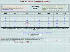 """Leon's Almanac of Political History"" -- Despite the word ""almanac"" in the title, this is really more of an interactive ""this day in politics"" resource. [Screenshot 20140218 via Pinstamatic.]"