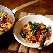 Butternut squash soup recipe with aubergine and chickpea