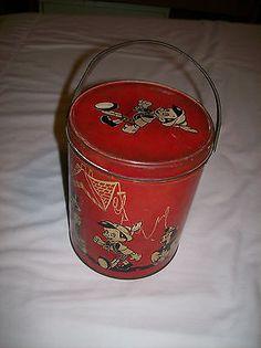 Vintage 1940 Disney Pinocchio Round Tin Lunchbox Pail