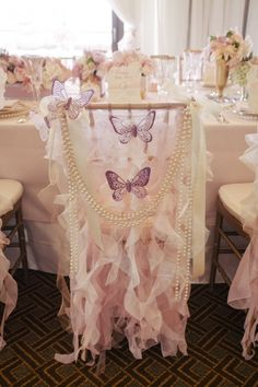 Adorable Girl Baby Shower - curly willow chair sleeve with butterflies + pearls Wildflower_linen_Dessart_Designs_Slickforce_Studio