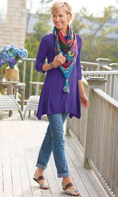 Soft Look # 4 - 8/16/13 - Timely Boatneck in True Purple; Tanya Boyfriend Jean in Denim; Cherry Blossom Silk Scarf in Multi; Tangier Necklace in Turquoise; Twist & Tie Wrap Bracelet in Turquoise; Elliott Lucca Mia Sandals in Aqua.
