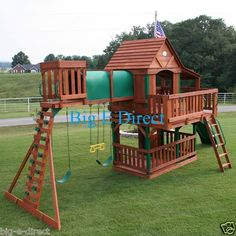 Outdoor Wooden Swing Set Play House With Slide Tunnel Ladder Deck Bench Porch