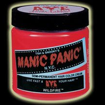MANIC PANIC hair dye in Wildfire - a HOT red.