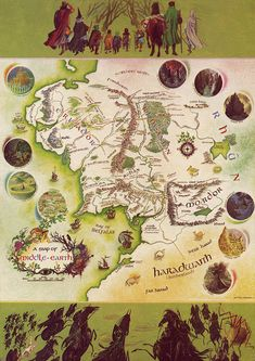Map of Middle Earth, illustration by Pauline Baynes for a 1961 edition of 'The Hobbit' by J.R.R Tolkein
