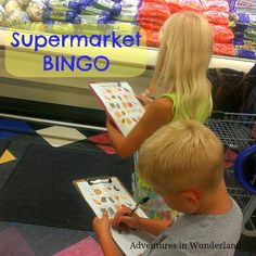 Need help entertaining the kids while grocery shopping?  Play a round of Supermarket Bingo!  We love this game