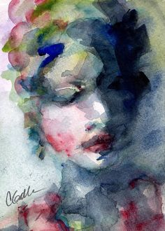 Watercolor Painting Print Womans Face Blue by CorinneGallaFineArt, $9.00