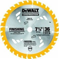 DEWALT DW3176 Construction Series 7-1/4-Inch 36-Tooth Thin Kerf Finishing Saw Blade with 5/8-Inch Diamond Knockout Arbor -  Product Features  Tougher tungsten carbide stays sharper longer Specially formulated anti-stick coating minimizes friction and