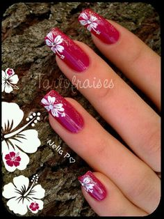 nail art Flower nail art find more women fashion ideas on Hibiscus!My country flower~Flower nail art find more women fashion ideas on Hibiscus!My country flower~ Fabulous Nails, Gorgeous Nails, Pretty Nails, Fancy Nails, Love Nails, My Nails, Fingernail Designs, Nail Art Designs, Nails Design