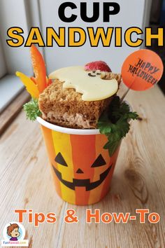 Cute Sandwich Cup for Halloween party, school lunch bento, or just for fun!