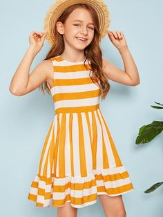 To find out about the Girls Striped Flounce Hem Dress at SHEIN, part of our latest Girls Dresses ready to shop online today! Girls Dresses Online, Dresses Kids Girl, Kids Outfits Girls, Girl Outfits, Cute Short Dresses, Kids Frocks, The Dress, Girl Fashion, Baby Girl Fashion