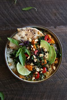 overhead shot coconut curry lentil bowl