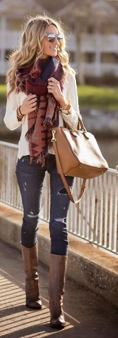 Jeans, printed scarf, cream sweater, cognac bag,
