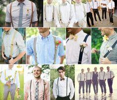 groomsmen - suspenders, waistcoats & rolled up sleeves