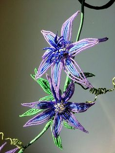 French beaded flower wall hanging - clematis vine - by Markingtime on Etsy