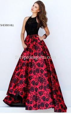 Sherri Hill 50245 Halter Floral Black Red 2016 Prom Dress
