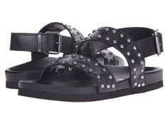 Just Cavalli Studded Leather Sandal in Black