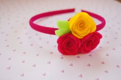 Felt Flower Headband Pink Rose Headband Newborn por HairSweets, $5.00
