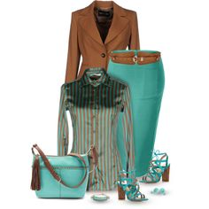 A fashion look from August 2016 featuring brown jacket, high-waist skirt and Charles by Charles David. Browse and shop related looks. Fashion Wear, Work Fashion, Skirt Fashion, Fashion Dresses, Womens Fashion, Corporate Outfits, Business Casual Attire, Business Outfits, Teal Outfits
