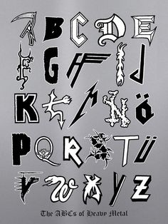 Metal Alphabet  https://www.tsu.co/eatnails
