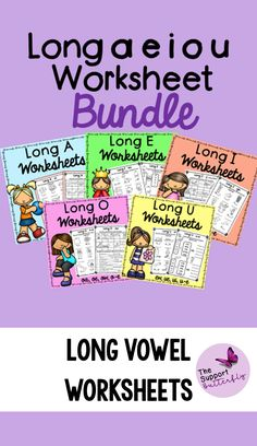 These long vowel worksheets are just what you need for you Kindergarten or First Grade students! These no prep worksheets are perfect for Literacy lessons, Literacy centers or word work. These printables will be easy to implement and engaging during your spelling or reading lessons. These ready to go worksheets are accessible to all students and are easy to implement. Long Vowel Worksheets, Long Vowels, Vowel Sounds, Reading Lessons, Word Work, Literacy Centers, First Grade, Phonics, Spelling