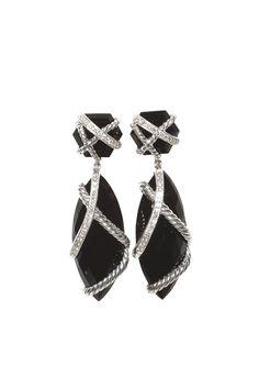Jewelry Trend: Shining Night (David Yurman's sterling silver and black onyx earrings.)