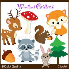 WOODLAND CRITTERS 10 piece clip art set in premium quality