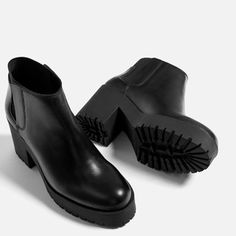 LEATHER ANKLE BOOTS WITH TRACK SOLE-View all-SHOES-WOMAN | ZARA Canada