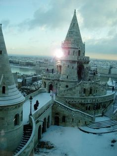 The Halászbástya or Fisherman's Bastion is situated on the Castle Hill in Budapest, Hungary around Matthias Church