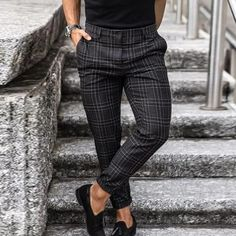Solid Plaid Slim Taper Side Pocket Pants – maxgonia Mens Plaid Pants, Chinos Men Outfit, Plaid Pants Outfit, Tartan Pants, Black Turtleneck Outfit, Checkered Suit, Casual Wear For Men, Men's Pants, Summer Fall