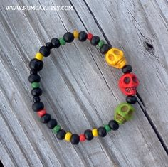 Jamming    Rasta Colors Skull Beaded Bracelet  beach by RumCay, $12.95
