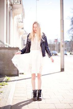 Cocorosa . - Zara Sequined Biker Jacket, Zara Eyelet Top, Chloé Silk Skirt, Dr. Martens - Docs