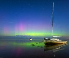 Auroras reflecting from the calm waters of Cape Cod, Massachusetts, on the evening on Sept. Meteor Shower, Aurora Borealis, Stars And Moon, Cape Cod, Northern Lights, Calm Waters, Solar Flares, Earth, Sky