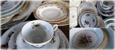 Vintage/Antique china place settings Vintage wedding :) http://www.twicelovedvintagetlv.com