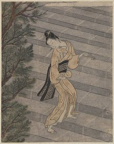 """Young Woman Climbing Stone Stairs to a Shinto Temple"", Suzuki Harunobu (1725-1770). [Source: The Metropolitan Museum of Art, NY]"