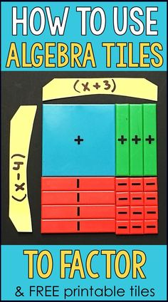 Do you use algebra tiles in math class? This post has 4 examples with lots of pictures for how to use algebra tiles to factor quadratic trinomials. Includes a link to a free set of printable algebra tiles in pdf format. Algebra Activities, Maths Algebra, Math Resources, Teaching Math, Math Math, Math Fractions, Math Games, Teaching Strategies, 8th Grade Math