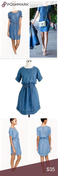 J. Crew Lightweight Washed Chambray Dress J. Crew retail Lightweight washed chambray dress. Made from a specially designed fabric that's supersoft with a hint of bounce (it looks like denim but has a lightweight, airy feel), Loose fit. Falls above the knee. Front pockets. Tie waistband. Zipper back Tencel® lyocell. Machine wash. In great pre loved condition. Only worn a handful of times! Color more similar to blogger pic. No trades/pay pal. J. Crew Dresses