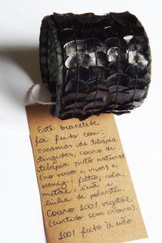 Bracelet TNG em couro de tilápia e escamas de pirarucu | pirarucu scales and tilapia leather bracelet by TNG.