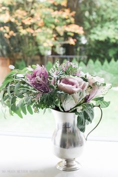 kale floral arrangement in silver pitcher- Fall Kitchen Tour