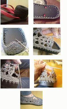 DIY crochet sandals from cheap flip flops Crochet Woman, Love Crochet, Diy Crochet, Crochet Crafts, Crochet Projects, Crochet Sandals, Crochet Boots, Crochet Slippers, Crochet Clothes