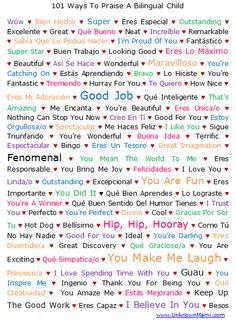 101 Ways to Praise a Bilingual Child Printable