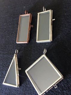Photo Frame Pendant Locket Picture Charm Rectangle Hinged Connector Silver